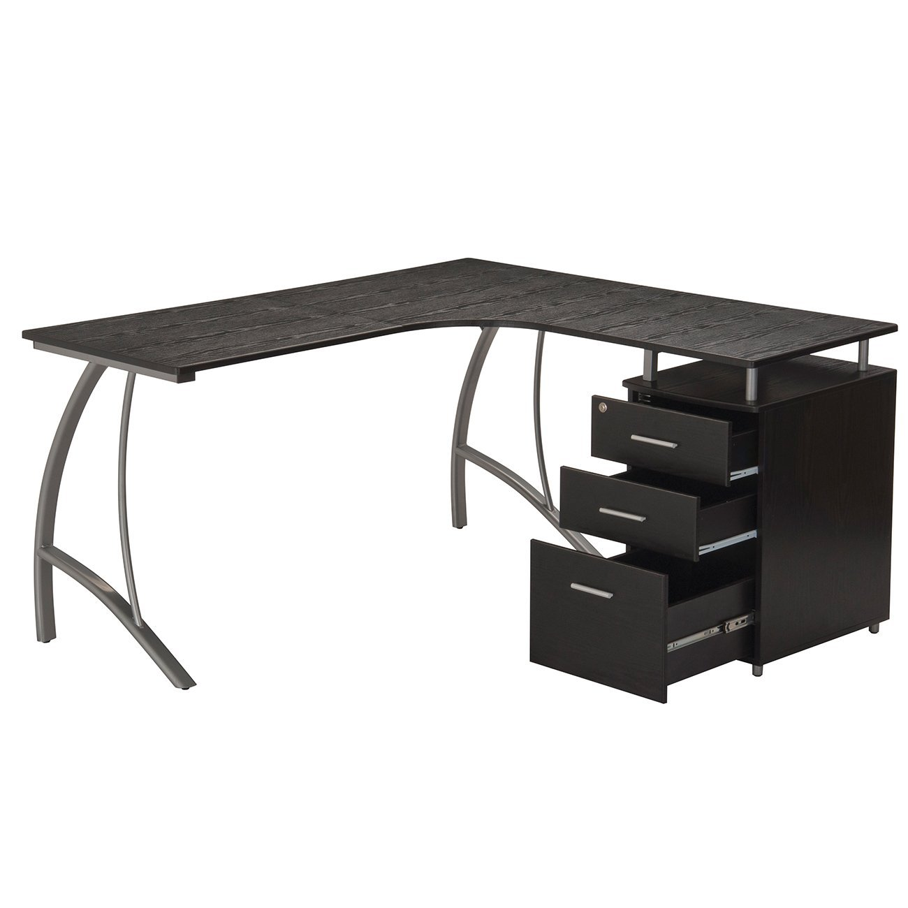TECHNI MOBILI Modern L- Shaped Computer Desk with File Cabinet and Storage - Espresso