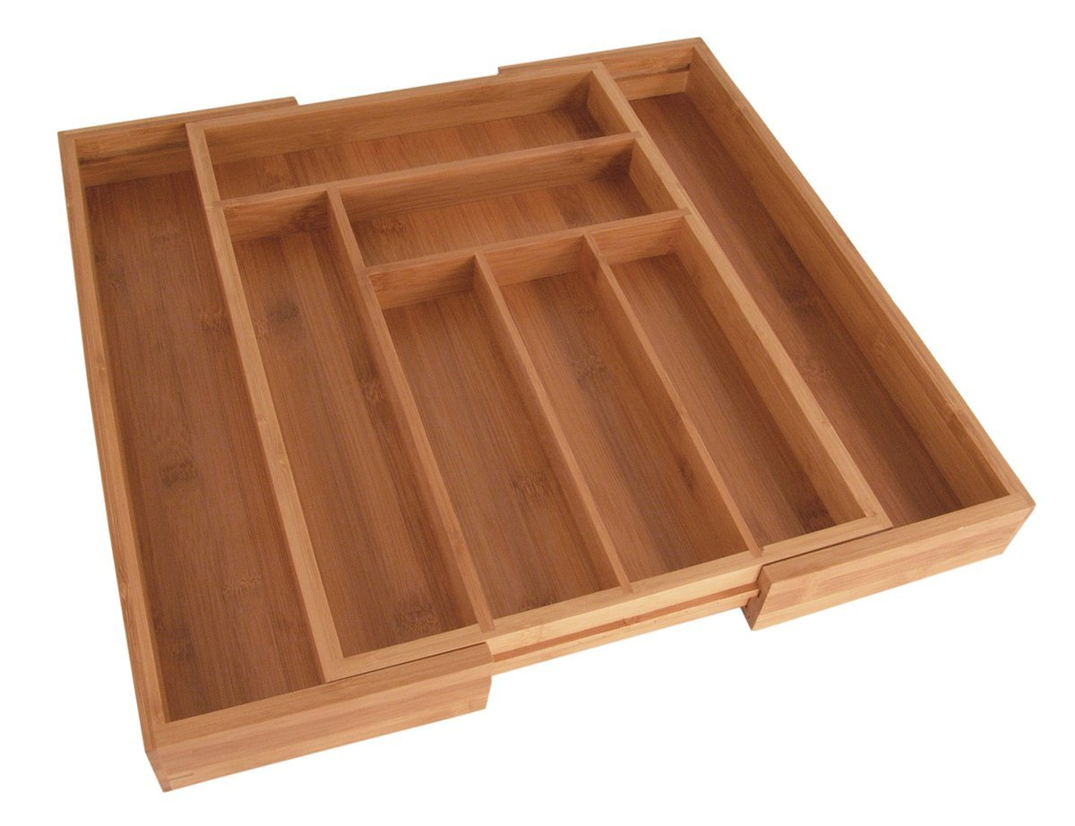 Totally Bamboo Large Expandable Cutlery Tray & Drawer Organizer; Bamboo Cutlery Tray with 8 Compartments and 2 Adjustable Dimensions; Made from 100% Organic Bamboo. Designed in USA