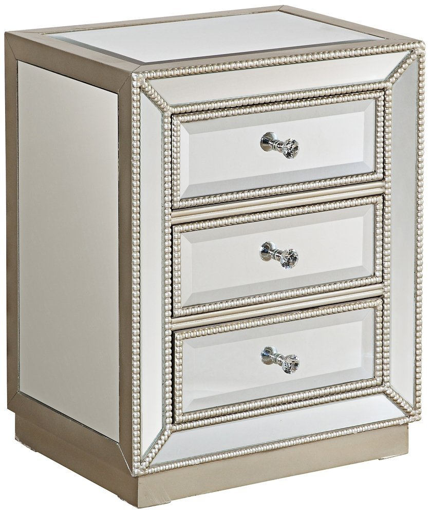 "Trevi 20"" Wide 3-Drawer Mirrored Accent Table"