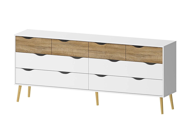 Tvilum 7545549ak Diana 8 Drawer Dresser, White/Oak Structure