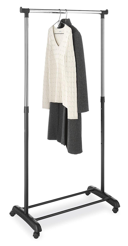 Whitmor Adjustable Garment Rack, Black & Chrome with Wheels