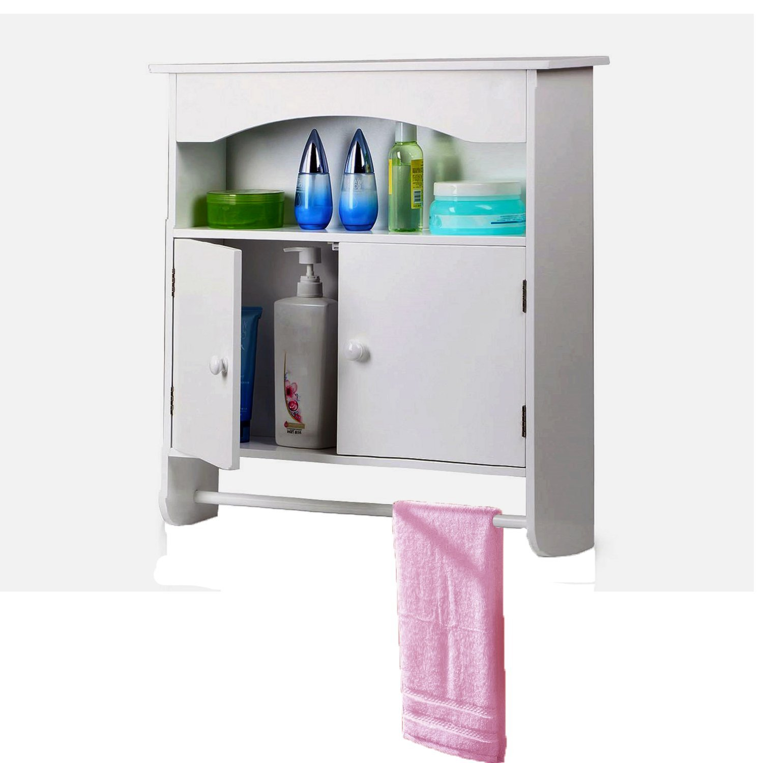 Yaheetech White Wooden Bathroom Wall Cabinet Toilet Medicine Storage Organiser Cupboard 2 Door with Bar Shelf Unit