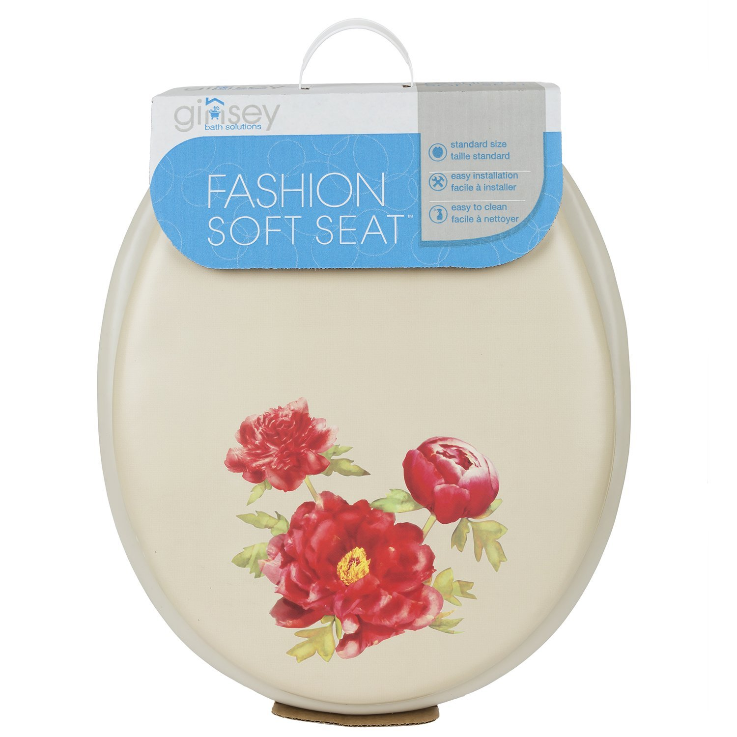 Decorative Soft Toilet Seat with Plastic Hinges, Peony Bone