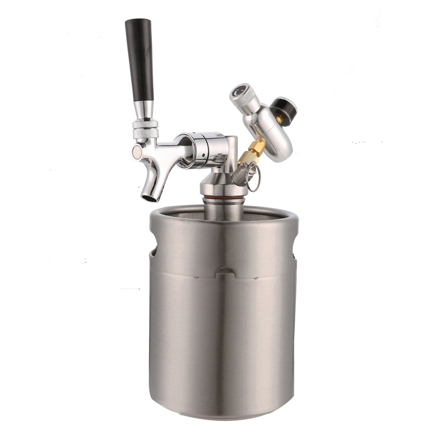 HAN-MM 64 Ounce Homebrew Keg System Kit for Home Brew Beer - with a HAN-MM Beer Dispensor, HAN-MM Mini CO2 Regulator and a HAN-MM 64 Ounce Stainless Steel Keg