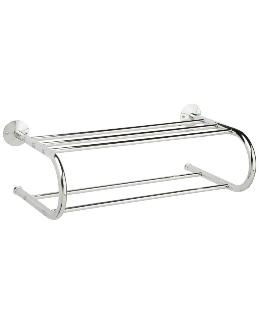 "Honey-Can-Do BTH-05075 Wall Mount Towel Rack with Dual Hanging Bars, 22.64 x 11.81 x 7.48"", Chrome"