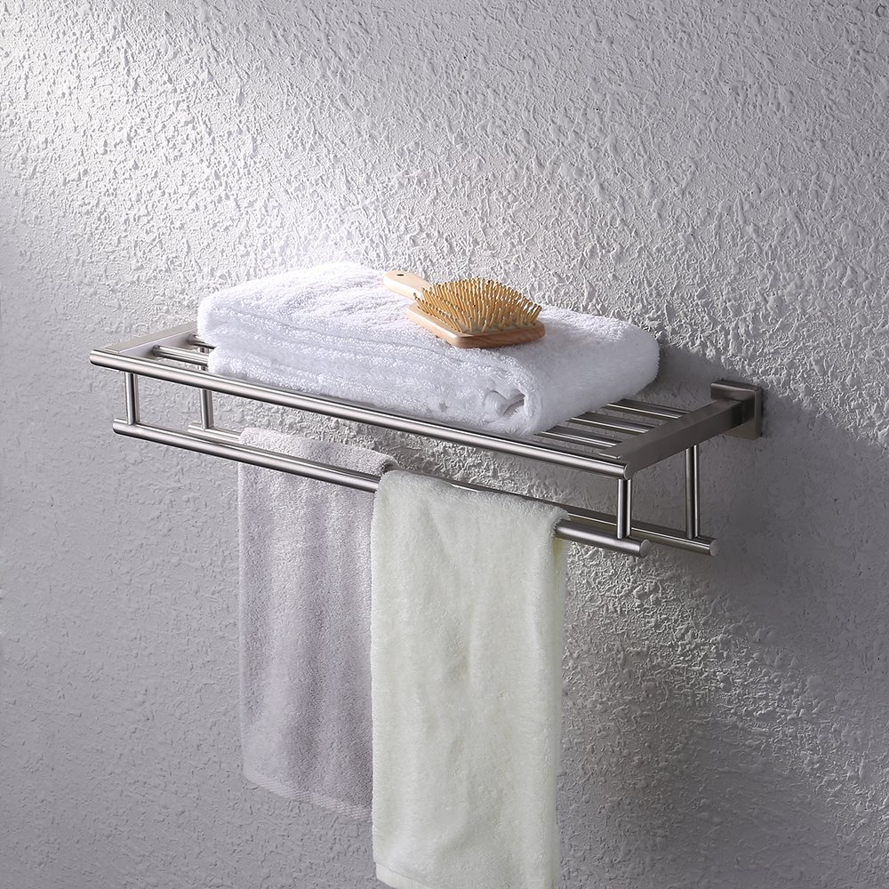 KES Towel Rack with Double Towel Bar for Bathroom (Stainless Steel 60 CM Wall Mount) Organizer Storage, Brushed Finish, A2112-2