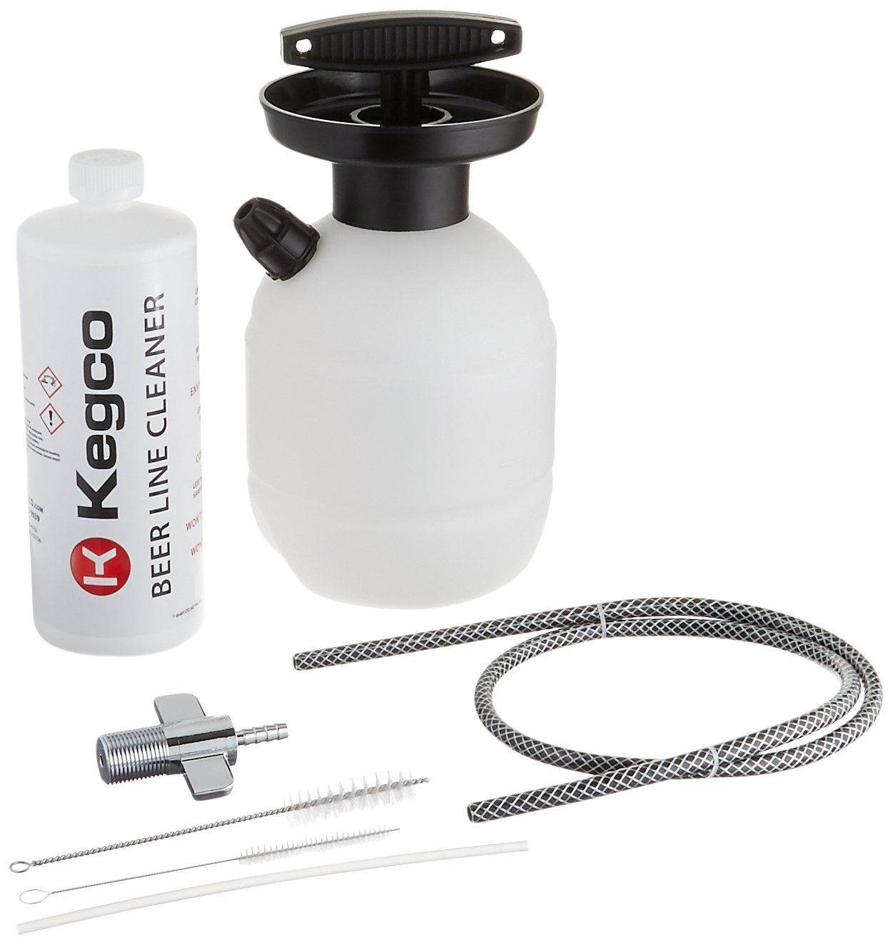 Kegco BF KPCK32 Deluxe Hand Pump Pressurized Keg Beer Cleaning Kit with 32 oz Cleaner, Black
