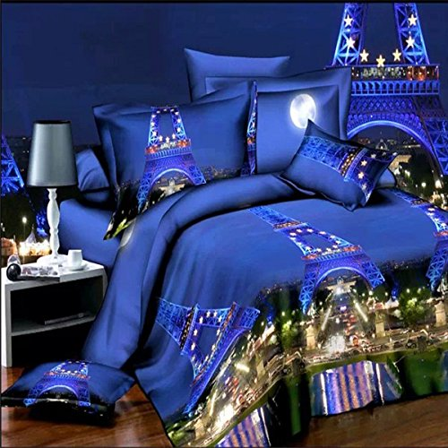 Kisstaker 4pcs Suit 3D Paris Night Eiffel Tower Scene Reactive Dyeing Polyester Fiber Bedding Sets Queen Size
