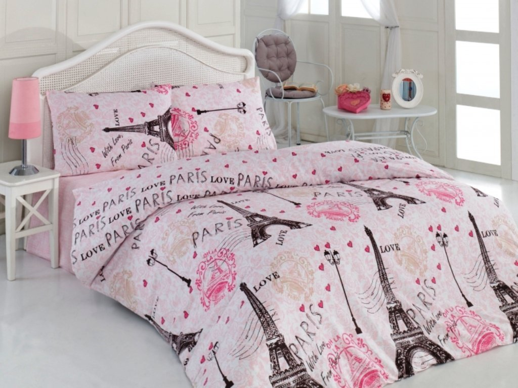 Pink Ranforce 100% Turkish Cotton 4 Pcs Paris Eiffel Tower Heart Theme Themed Full Queen Size Quilt Duvet Cover Set Bedding Linens