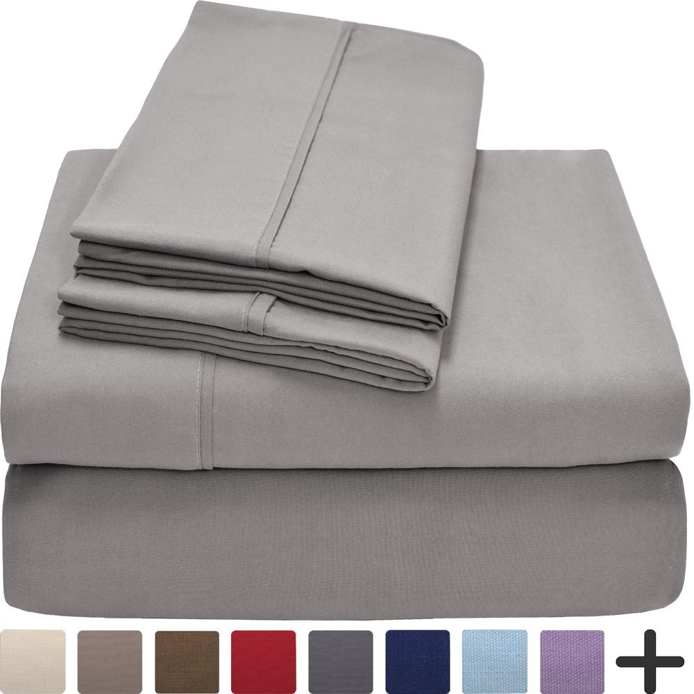Premium 1800 Ultra-Soft Microfiber Sheet Set Twin Extra Long - Hypoallergenic, Easy Care, Wrinkle Resistant, Deep Pocket (Twin XL, Light Grey)