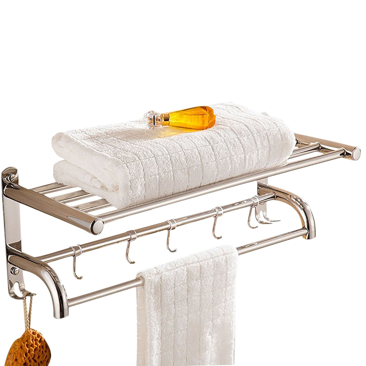 "Spring fever Bathroom Double Towel Shelf, 20"" Wall Mounted Towel Rail Towel Racks with 5 Hooks, Polished Stainless Steel"