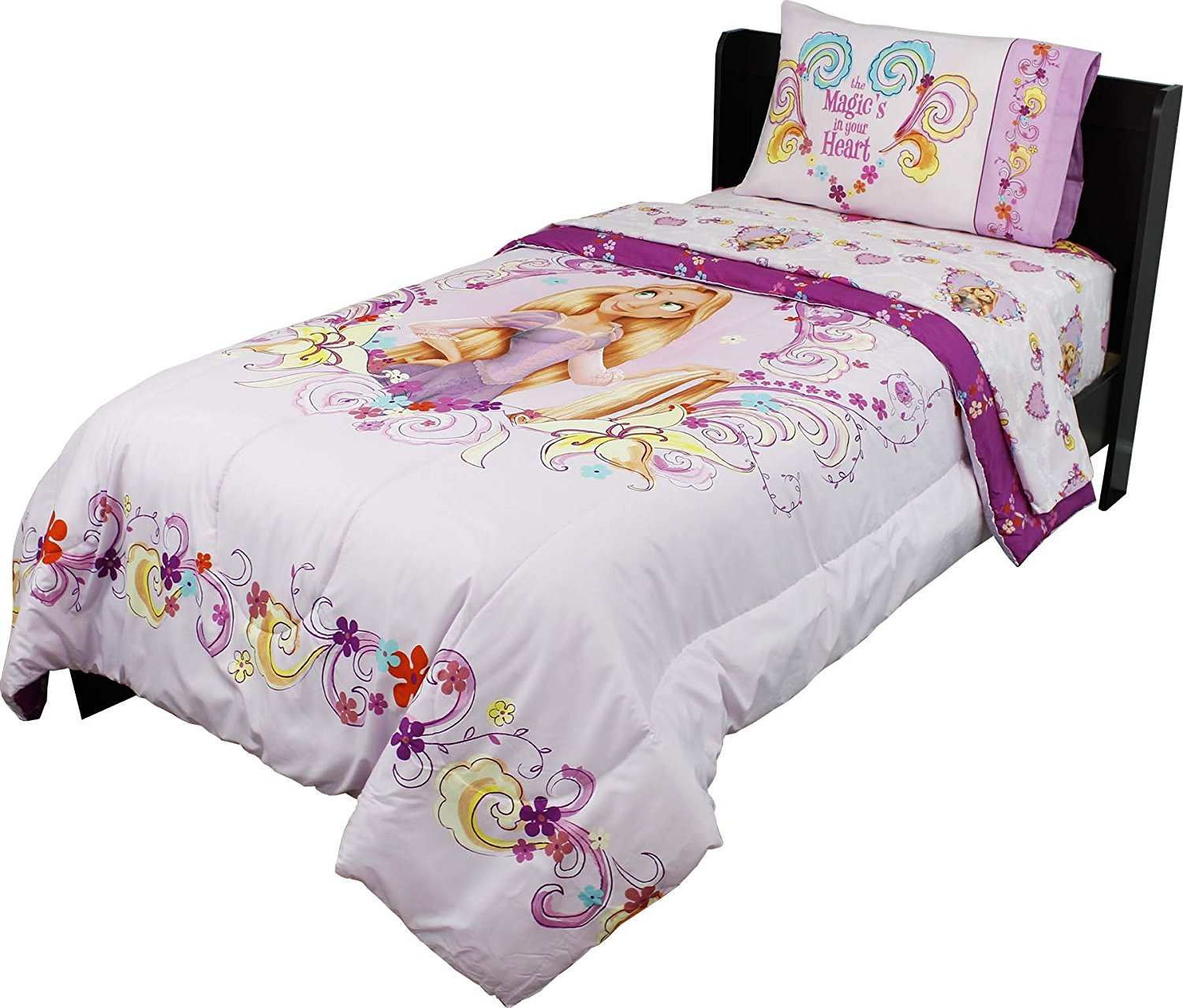 4pc Disney Tangled Twin Bedding Set Rapunzel Magic is in Your Heart Comforter and Sheet Set
