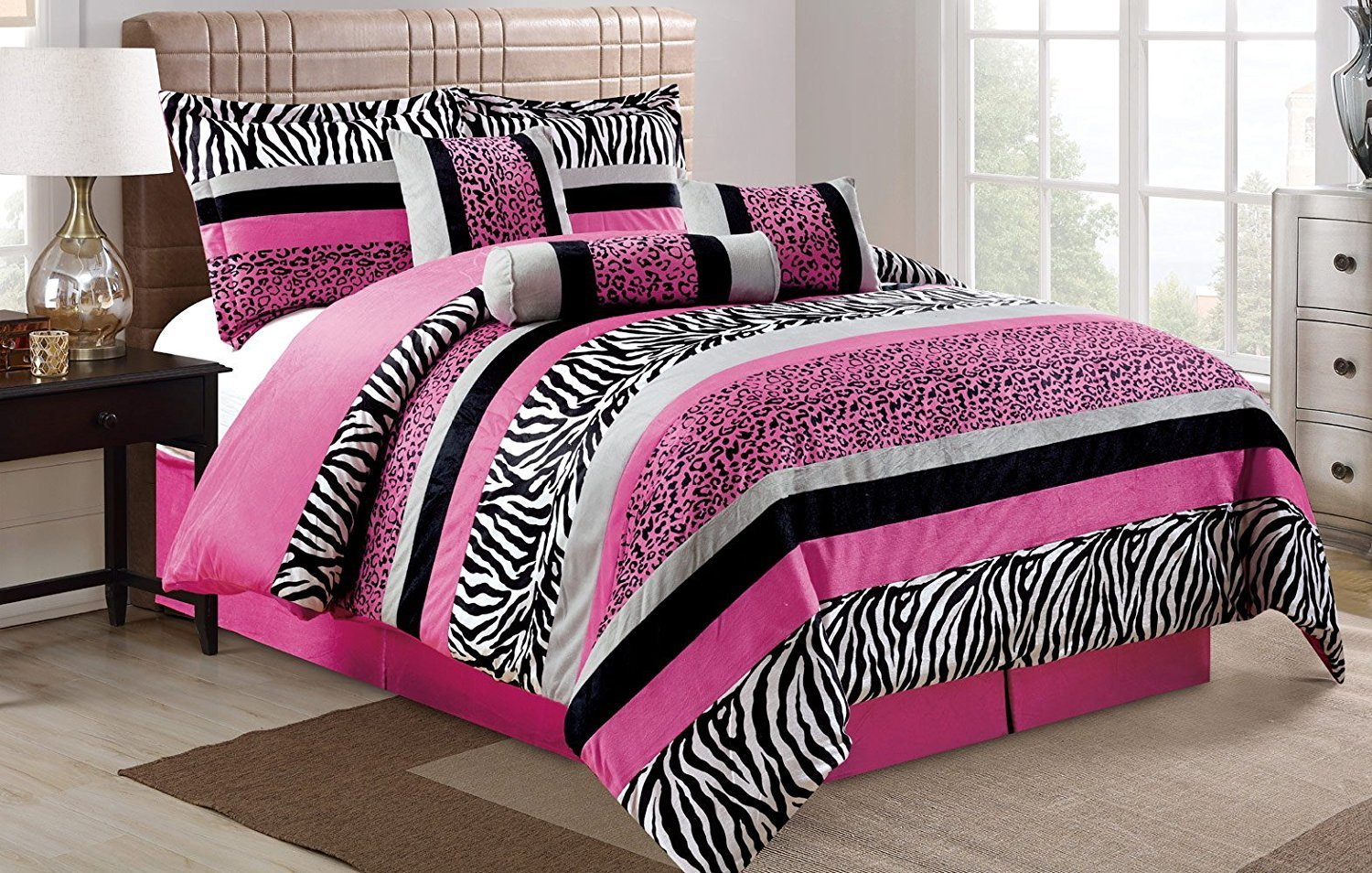 7 Piece Oversize HOT PINK Black White Zebra Leopard Micro Fur Comforter set Full Size Bedding - Teen, Girl, youth, Tween, Children's Room, Master Bedroom, Guest Room