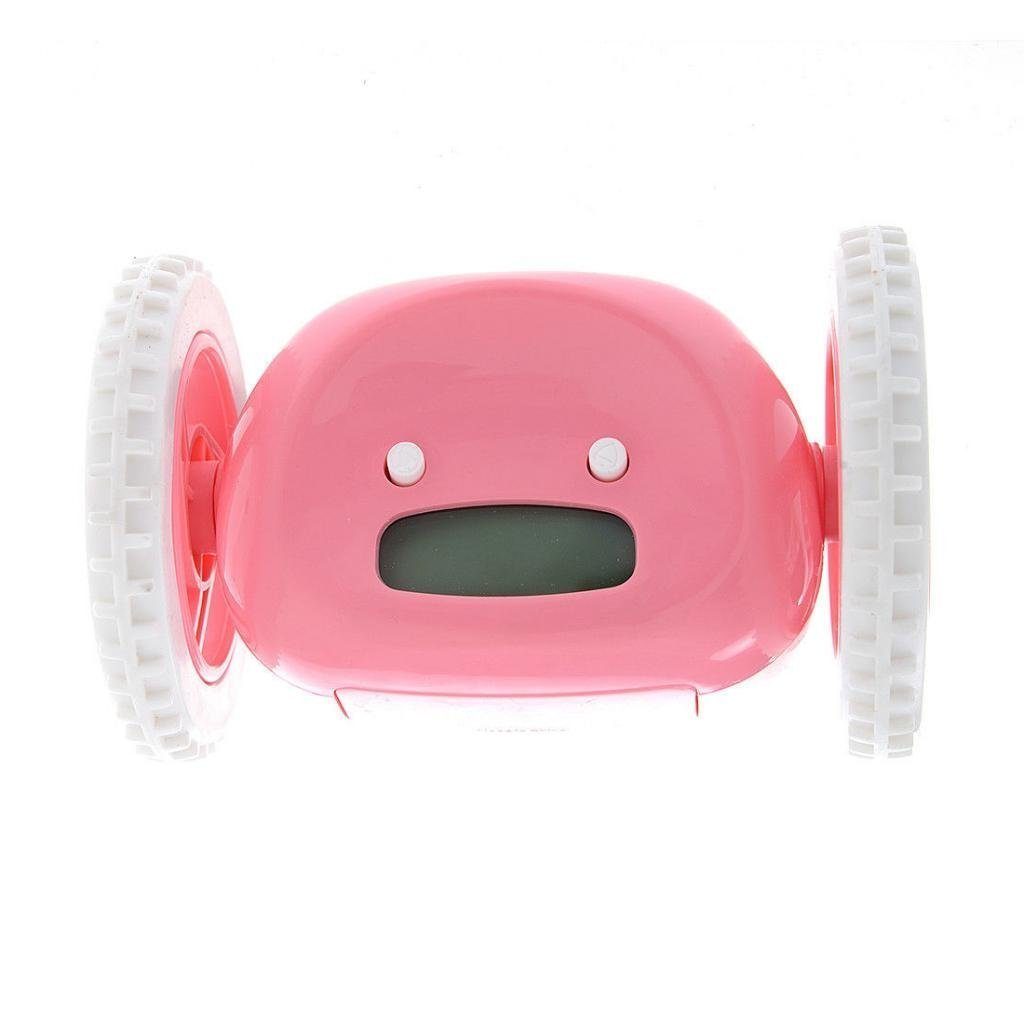 Alert Loud Alarm Clock Hide and Seek Runaway Alarm Clock Two Wheels Funny and Cute Alarm Clock for Lazy People(pink)