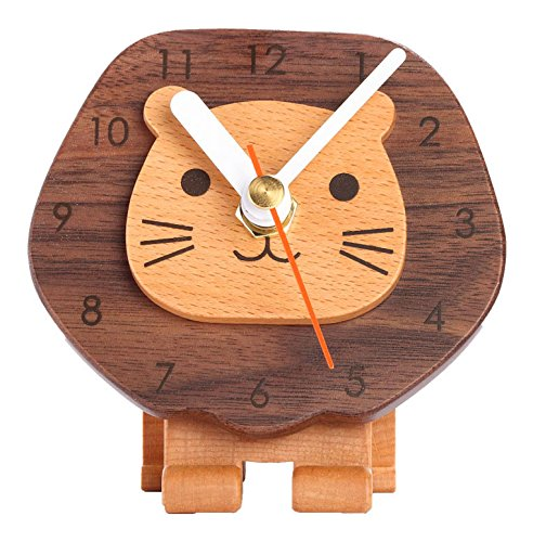 Carpenter Cute Novelty Wooden Lion Analog Desk Clock