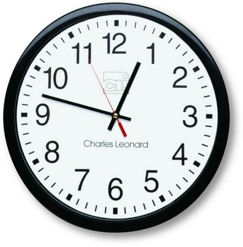 Charles Leonard Wall Clock, 14 Inch Thinline Quartz with 12 Inch Dial, Black and White, 1/Box (76820)