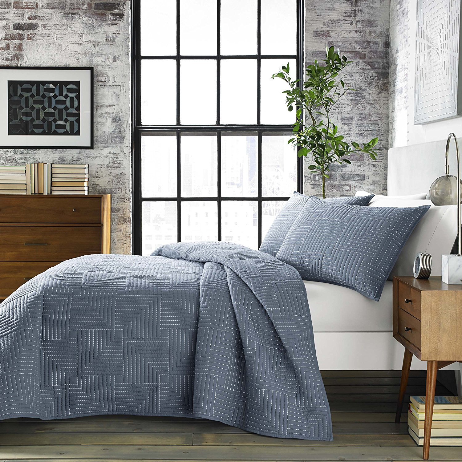 City Scene Maze Quilt Set, Full/Queen, Blue