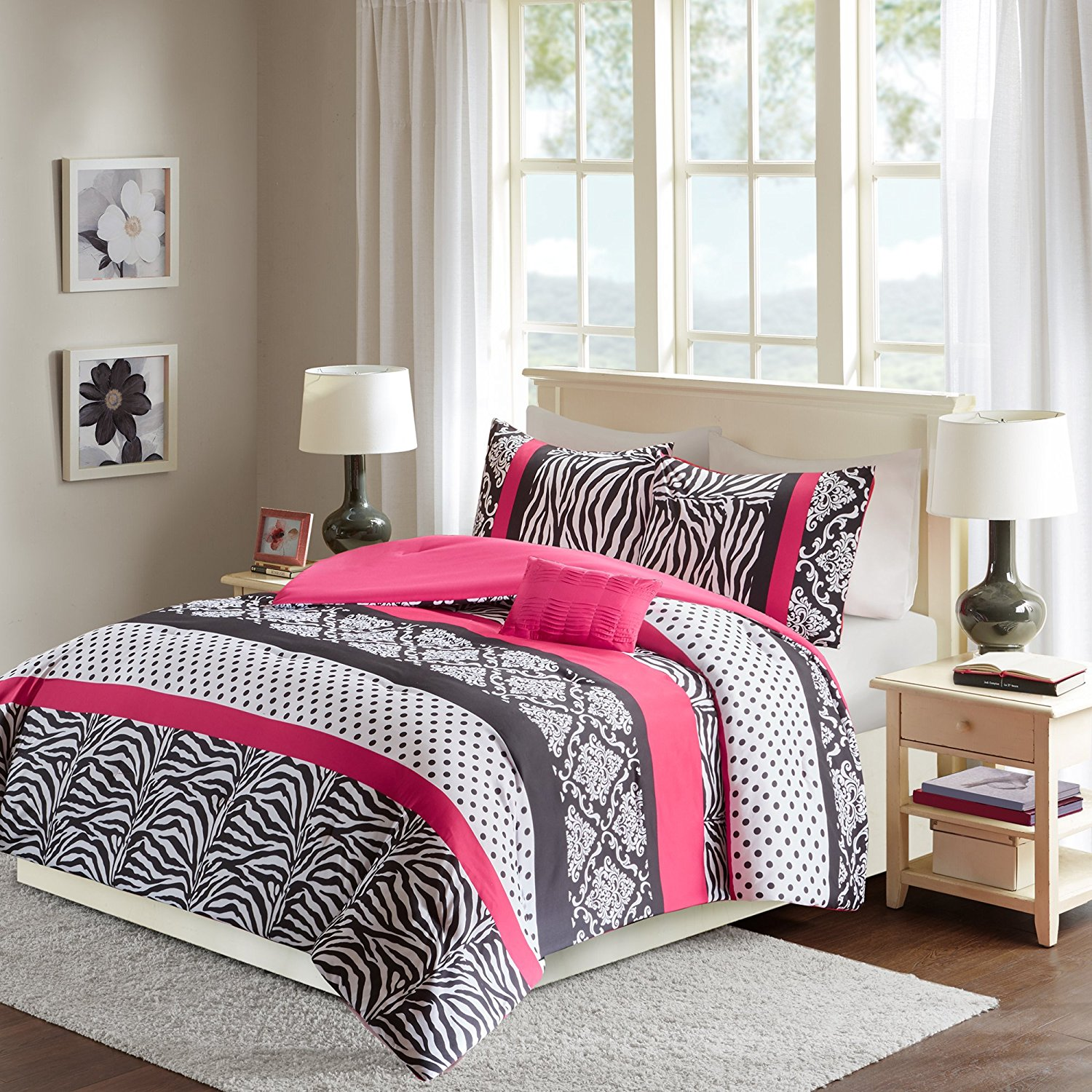 Comfort Spaces - Sally Comforter Set - 3 Piece - Hot Pink & Black - Zebra, Damask, Polka dot print - Twin/Twin XL Size, includes 1 Comforter, 1 Sham, 1 Decorative Pillow