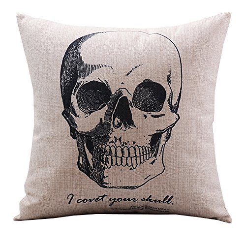 CoolDream Cotton Linen Decorative Pillowcase Throw Pillow Cushion Cover Gothic Horror Skull Square 18""