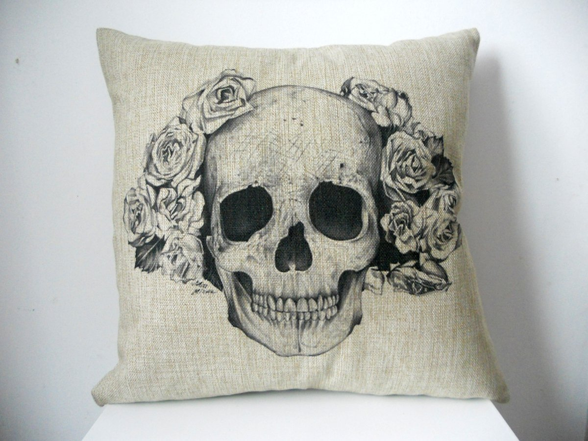 Decorbox Cotton Linen Square Decorative Fashion Throw Pillow Case Cushion Cover Black White Rose Skull 18""