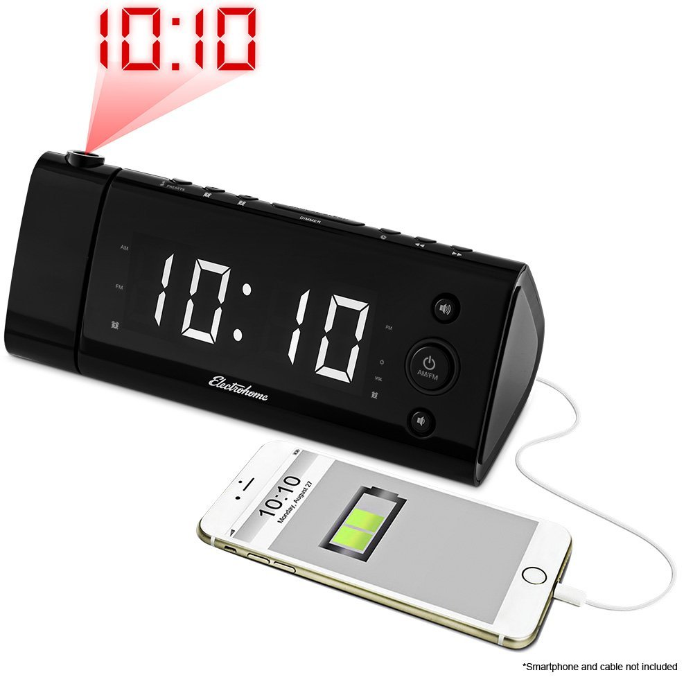 Electrohome EAAC475W USB Charging Alarm Clock Radio with Time Projection, Battery Backup, Auto Time Set, Dual Alarm, 1.2-Inch LED Display for Smartphones & Tablets, White