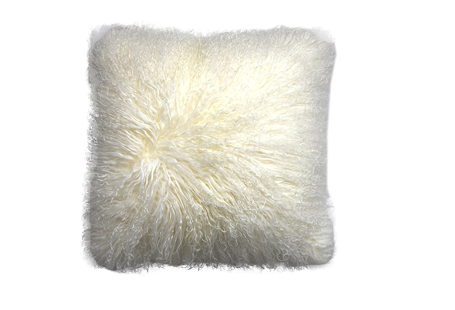 Lichao 100% Real Mongolian Lamb Fur Sheep Skin Wool Super Soft Plush Pillowcase Cushion cover Pillow Cover 16X16Inch Square Multi Colors (Ivory)