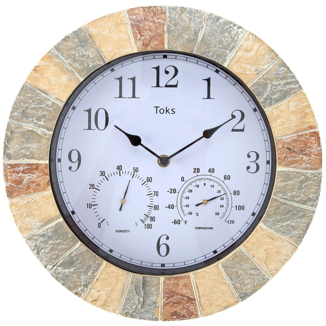 Lilyshome 14-Inch Faux-Stone Indoor or Outdoor Wall Clock with Thermometer and Hygrometer (Stone)