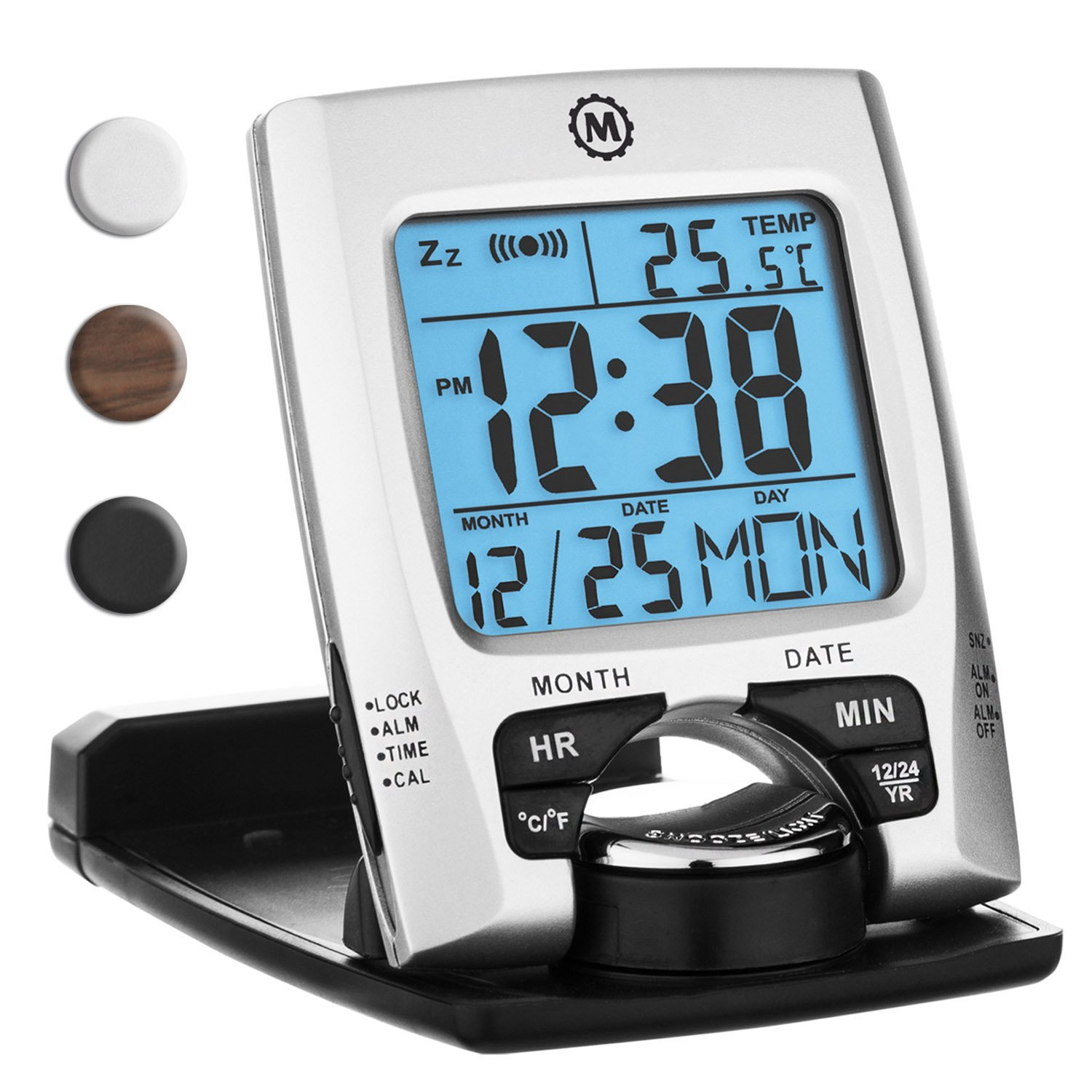 MARATHON CL030023 Travel Alarm Clock with Calendar & Temperature - Battery Included