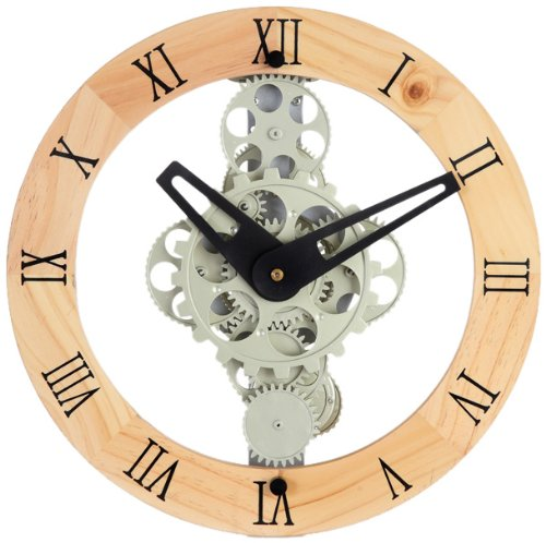 Maple's GCL06-333 Moving Gear Wall Clock, Wooden Ring Dial