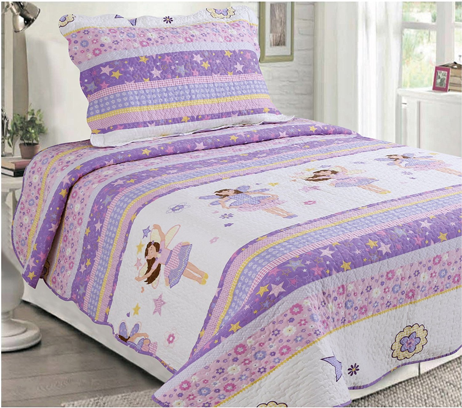 Mk Collection 2 Pc Bedspread Teens/girls Pink Purple Stars Flowers New