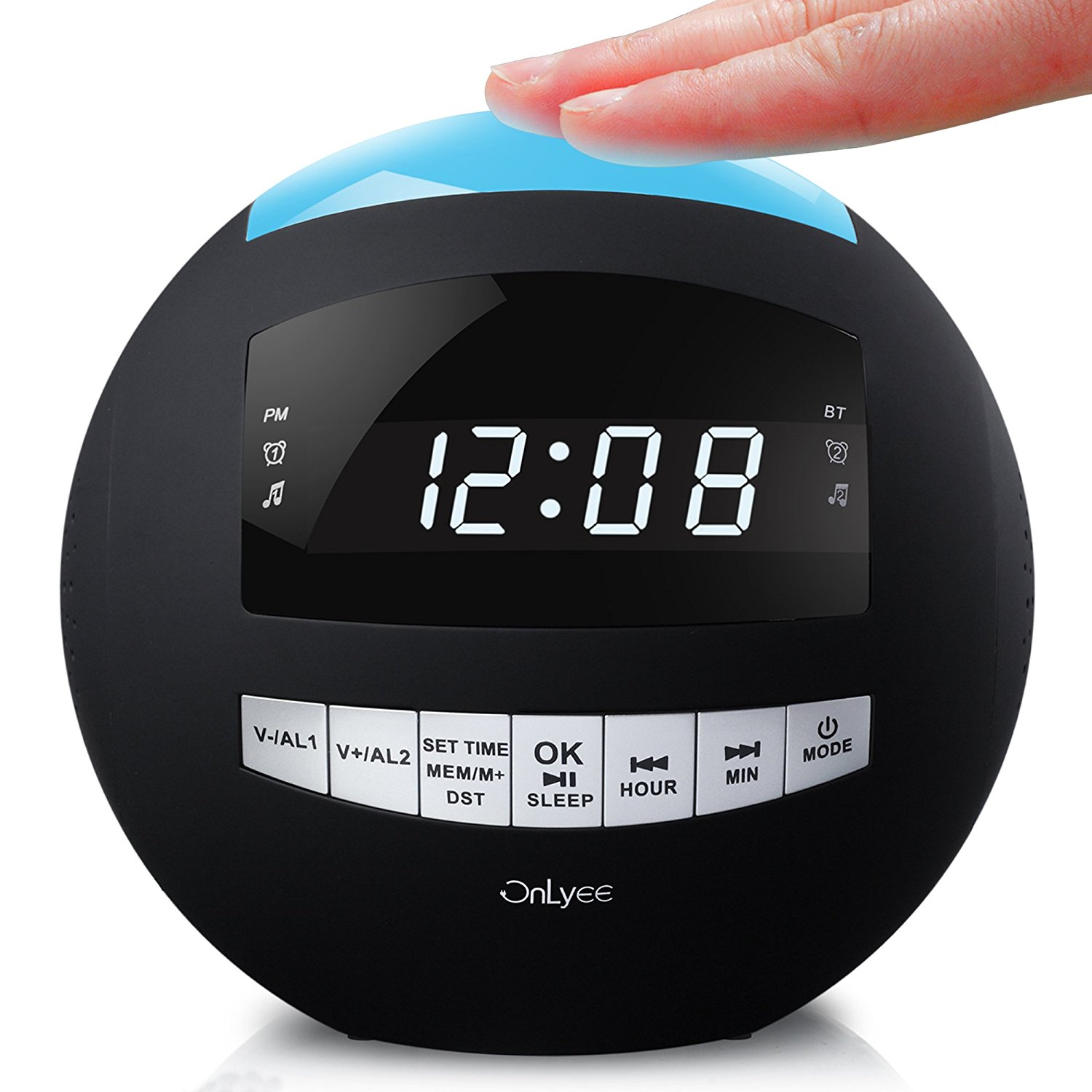 OnLyee Digital Dimmable Alarm Clock Radio & Wireless Bluetooth Speaker with AM FM,Speakerphone,Dual USB Charging,Multi-Color LED Night Light