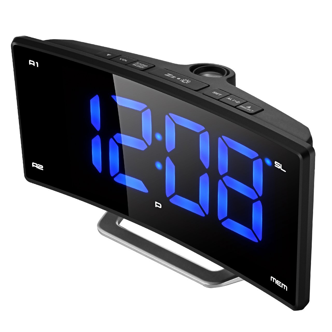 "Projection Clock, (New Version) Pictek FM Projection Alarm Clock, 2"" LED Display Curved-Screen Digital FM Clock Radio with Dual Alarms, 12/24 Hour, USB Charging, Battery Backup"