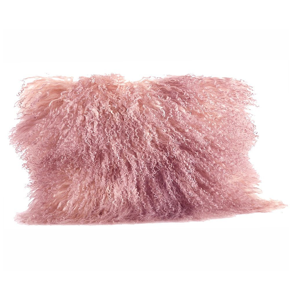 Rose Pink Color Real Mongolian Lamb Fur Pillow, Filled. 12 Inch X 20 Inch Oblong