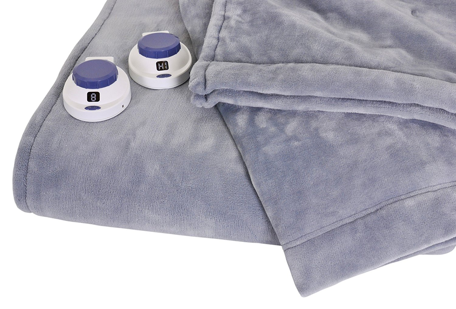 SoftHeat Luxurious Macromink Fleece Low-Voltage Electric Heated Blanket, Queen Size, Blue