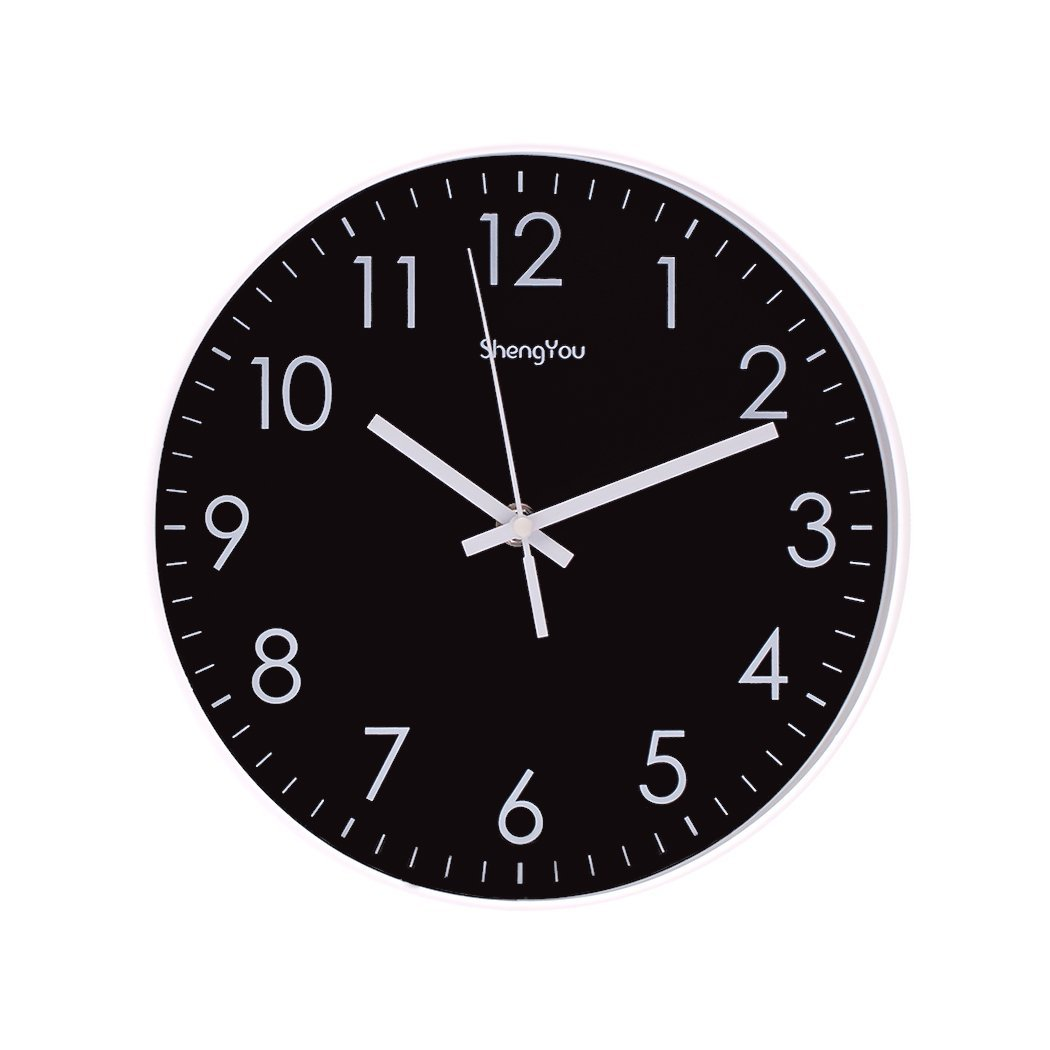 SonYo Indoor Non-Ticking Silent Quartz Modern Simple Wall Clock Digital Quiet Sweep Movement Office Decor 10 Inch(Black)