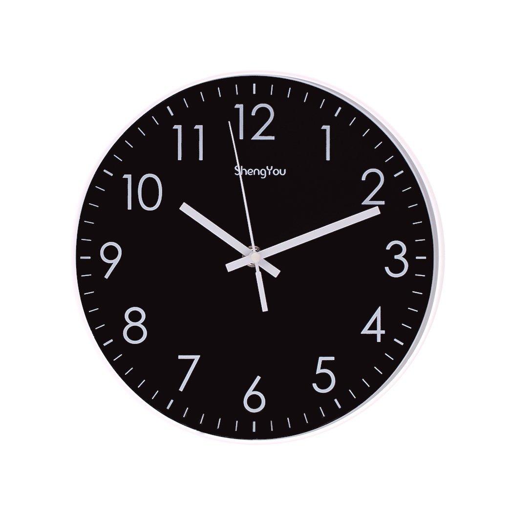 SonYo Indoor Non-Ticking Silent Quartz Modern Simple Wall Clock Digital Quiet Sweep Movement Office Decor 10 Inch(Black)