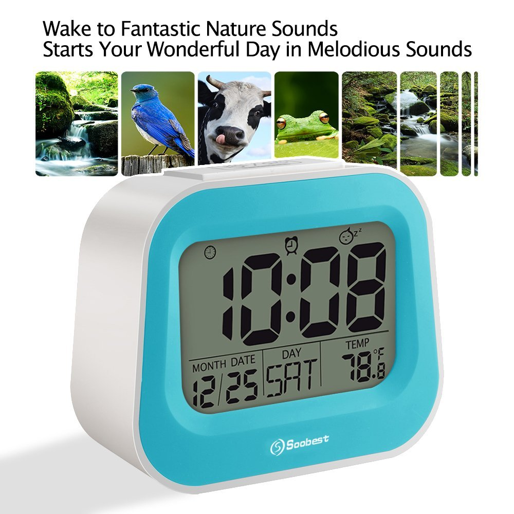 "Soobest Nature Sounds Digital Alarm Clock with Adjustable Snooze Time, 3.5"" Large Digits Display, Electric Powered Battery Backup Alarm, Ascending Volume, Simple to Set Electronic Clock(Blue)"