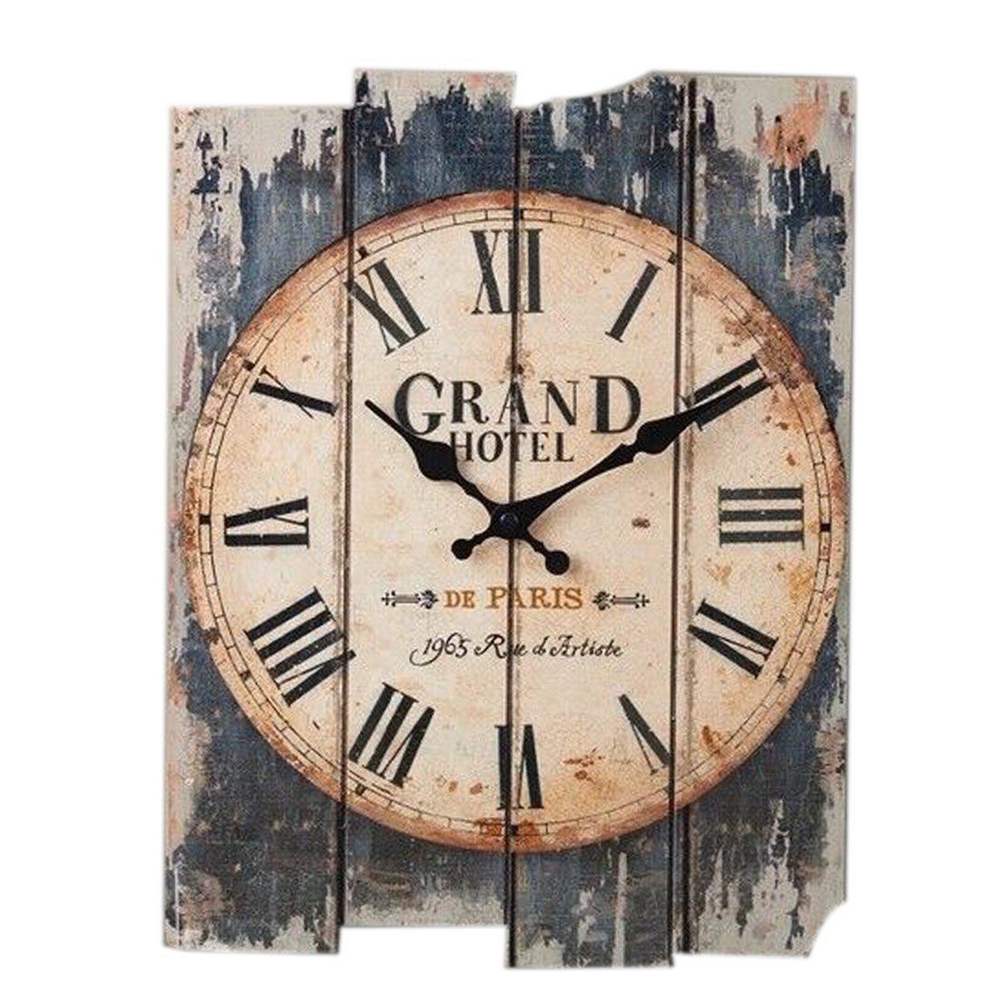 Wall Clock Vintage, Petforu 30x40cm Silent Clock Rectangle [Wooden] Roman Numeral Design - GRAND HOTEL