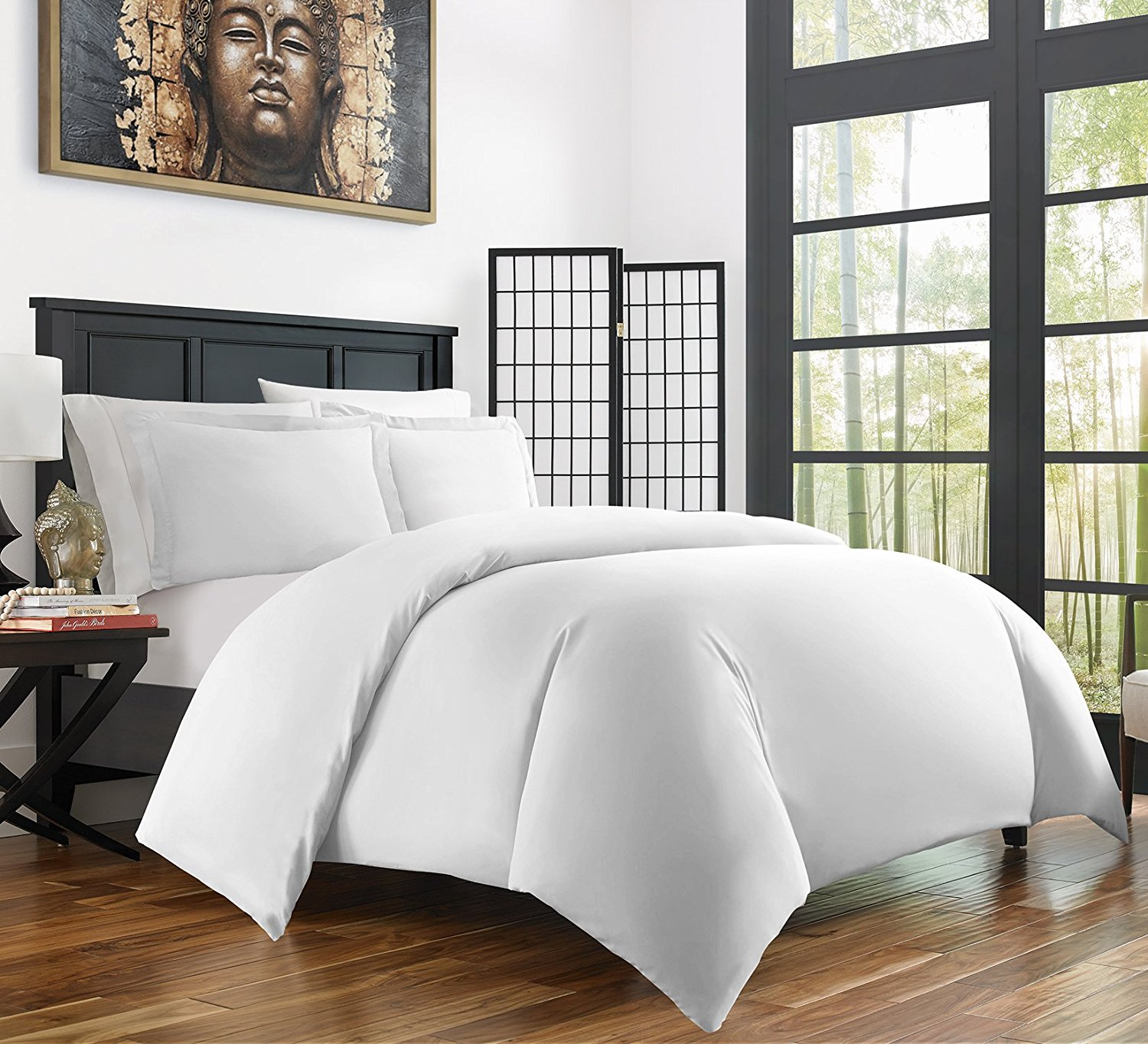 Zen Bamboo Ultra Soft 3-Piece Bamboo Twin/Twin XL Duvet Cover Set - Hypoallergenic and Wrinkle Resistant, White