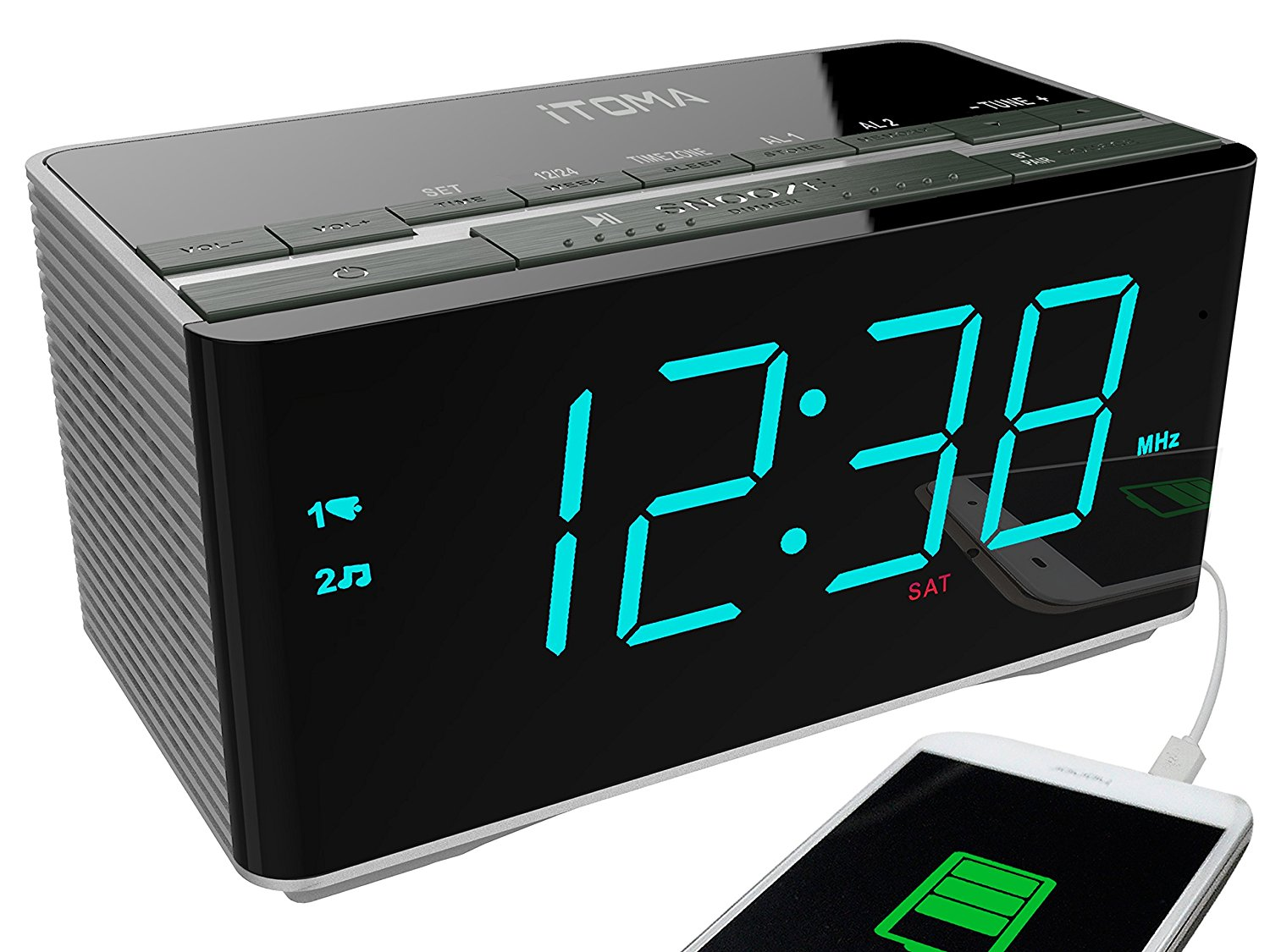 iTOMA Alarm Clock Radio with Wireless Bluetooth Stereo Speakers,Digital FM Radio,Auto Time Setting,Dual Alarm with Snooze,Auto Dimmer,Cell Phone USB Charging (CKS3501BT)