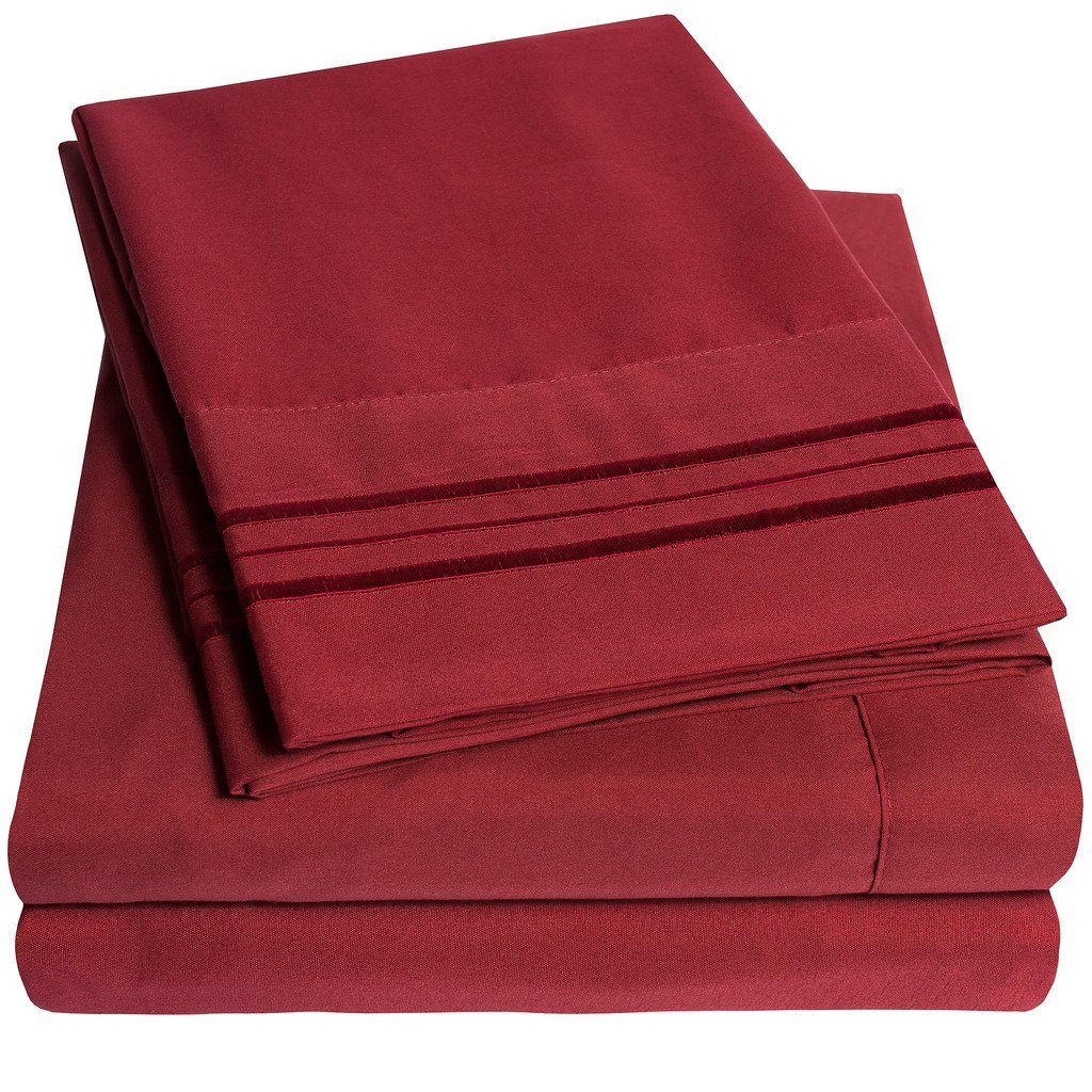 1500 Supreme Collection Extra Soft Twin XL Sheets Set, Burgundy - Luxury Bed Sheets Set With Deep Pocket Wrinkle Free Hypoallergenic Bedding, Over 40 Colors, Twin XL Size, Burgundy
