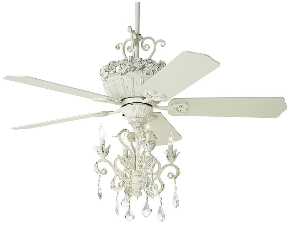 "52"" Casa Chic Rubbed White Chandelier Ceiling Fan"