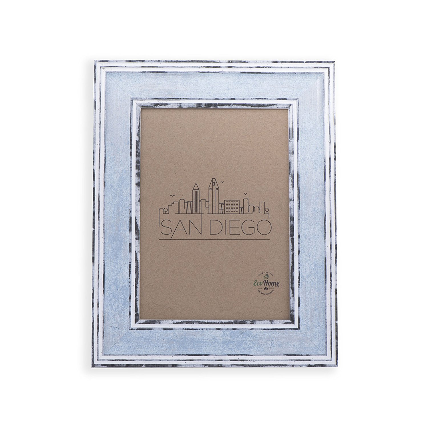 5x7 Picture Frame Distressed Blue - Mount / Desktop Display, Frames by EcoHome
