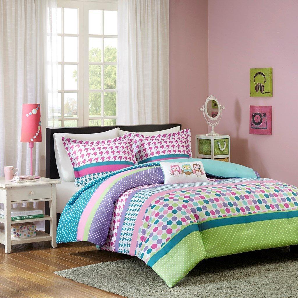 Adorable Girls Teen Kids OWL Bedding Comforter Set FULL QUEEN Polka Dot Geometric + 2 Shams + Fun Pillow Pink Aqua Blue Teal Purple Green Home Style Sleep Mask Bedspread Comforters Sets For Girl