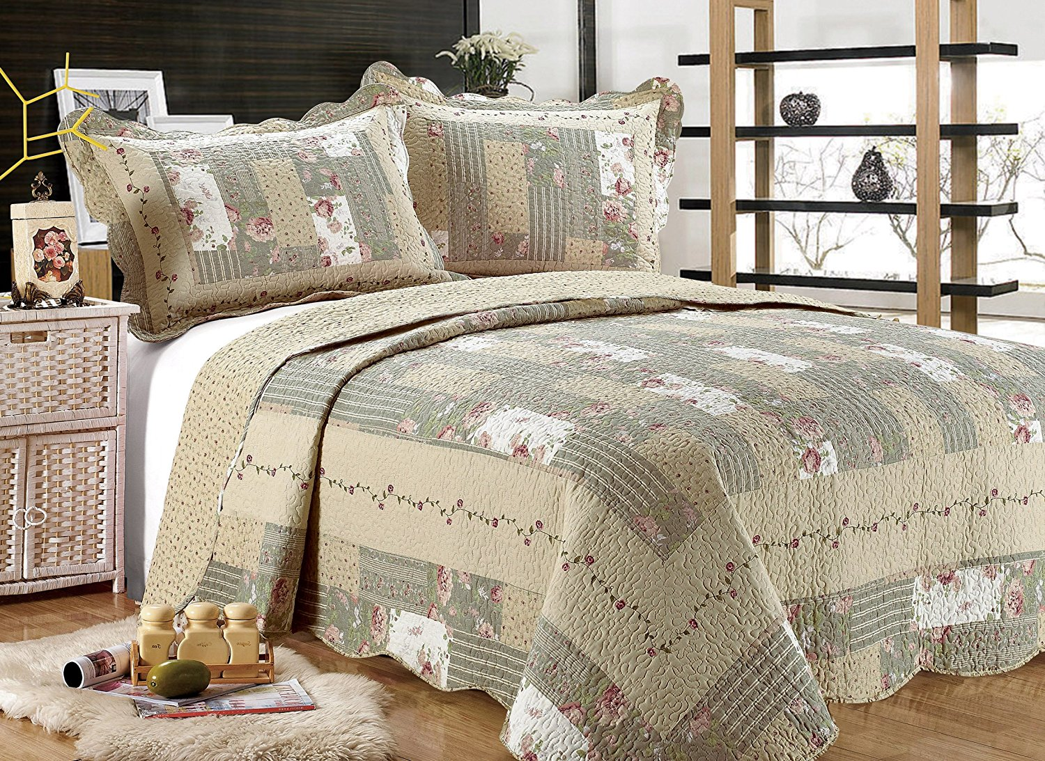 "All for You 3-piece Reversible Bedspread/ Coverlet / Quilt Set-beige, pink, burgundy and sage green prints, 100""x110"", (larger king with king size pillow shams)"