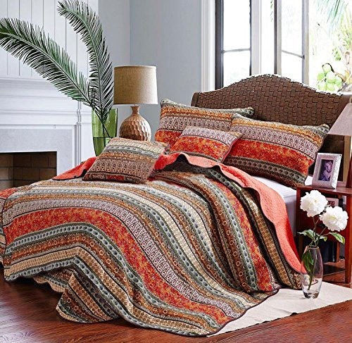 Best Striped Classical Cotton 3-Piece Patchwork Bedspread Quilt Sets King