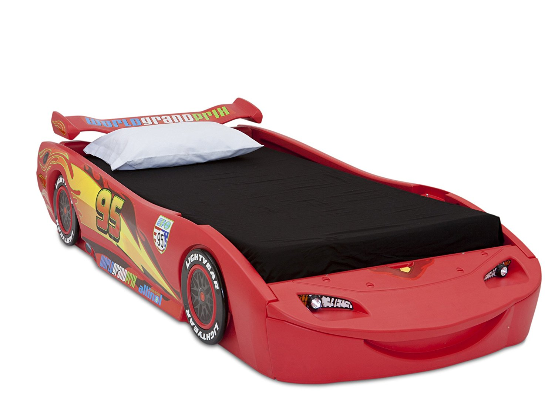 Delta Children Cars Lightning Mcqueen Twin Bed with Lights, Disney/Pixar Cars