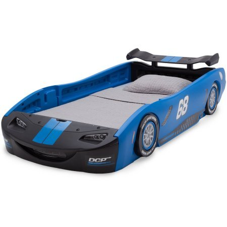 "Delta Children Turbo Race Car Twin Bed | 47.5""W x 22.5""H x 94""D (Blue)"