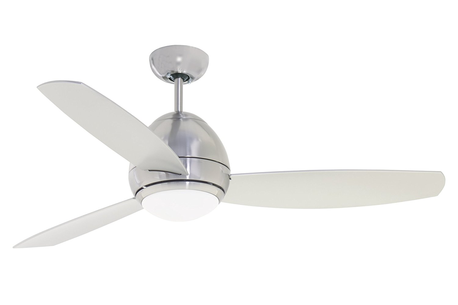 Emerson Ceiling Fans CF244BS, Curva, Modern Indoor Outdoor Ceiling Fan With Light And Remote, Wet Rated, 44-Inch Blades, Brushed Steel Finish