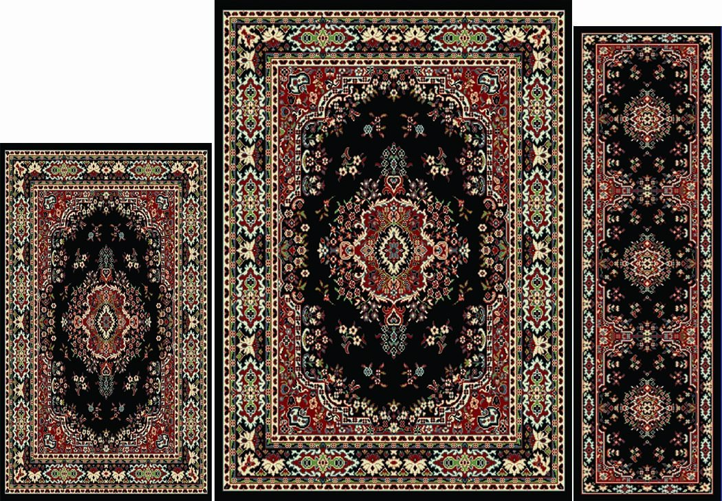 Home Dynamix Area Rugs - Ariana Collection 3-Piece Living Room Rug Set - Ultra Soft & Super Durable Home Décor - 7069-450 Black